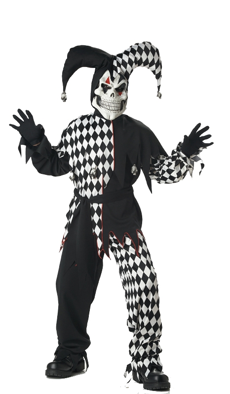 Evil Jester Black & White Child Costume
