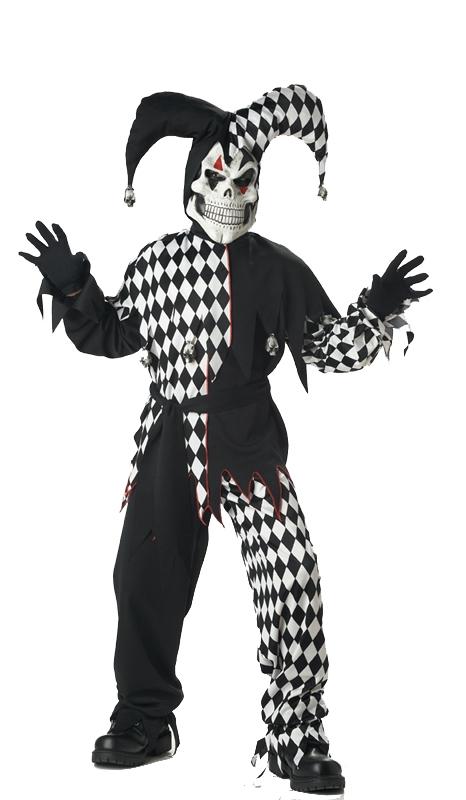 Evil Jester Black White Child Costume