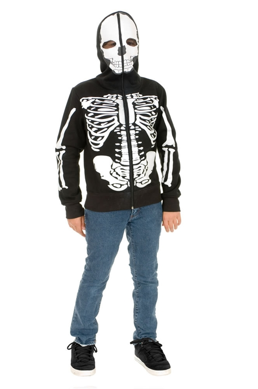 Skeleton Sweatshirt Hoodie Black And White Boys Costume
