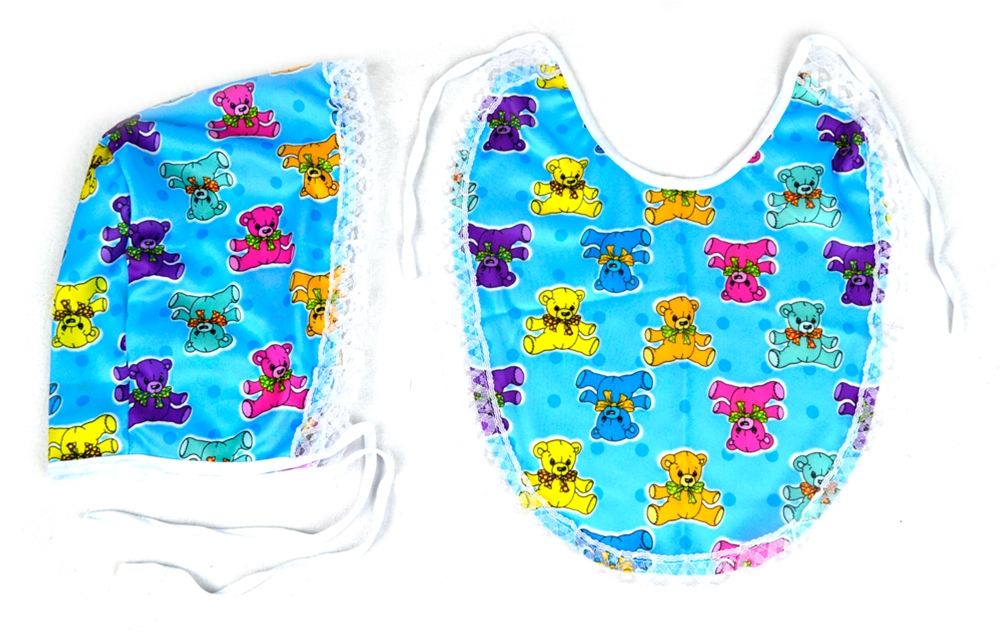 Blue Baby Bib and Bonnet Kit