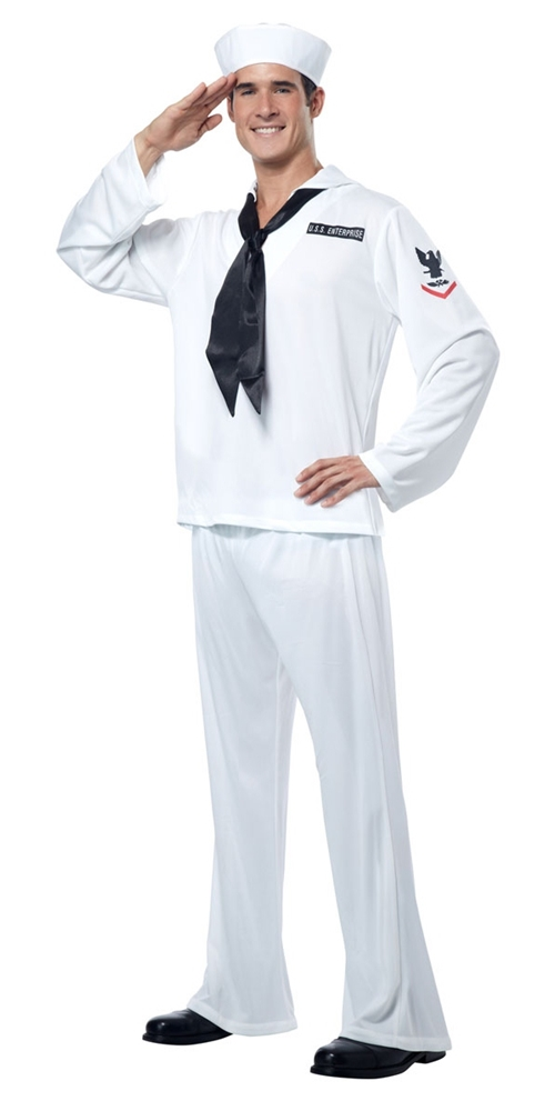 Retro White Navy Sailor Adult Mens Costume (Navy Sailor Costume)