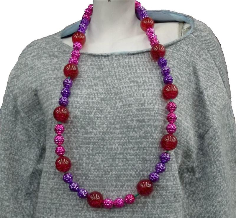 Купить Pink and Purple Lighted Bead Necklace