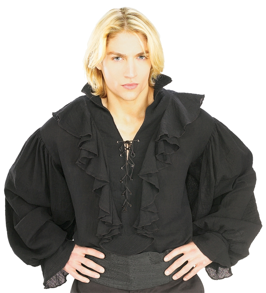 Gauze Black Pirate Shirt Costume