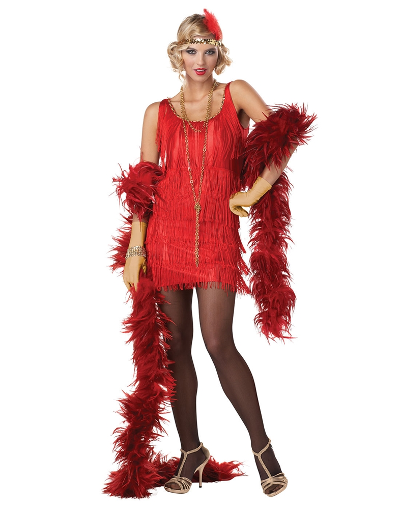 Red Fashion Flapper Adult Womens Costume