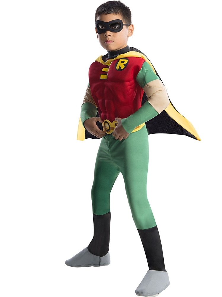 [Deluxe Teen Titans Robin Muscle Chest Child Costume] (Teen Titan Robin Costumes)
