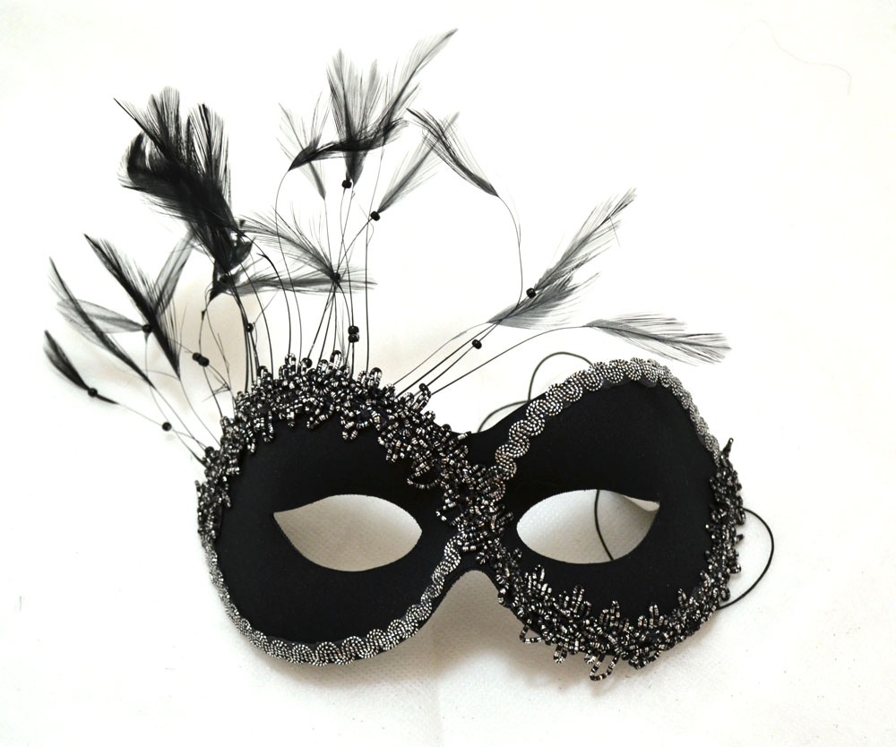 Persuasion Black Mask with Feathers