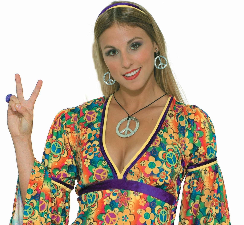 [Peace Sign Necklace and Earrings] (Necklaces And Earrings)