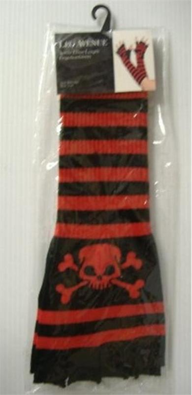 Black & Red Elbow Length Fingerless Gloves