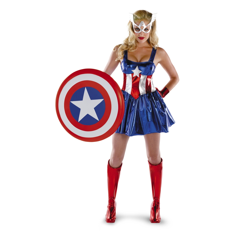 Marvel Captain America Deluxe Adult Womens Costume  sc 1 st  Trendy Halloween & Captain America Couple Costumes | TrendyHalloween.com
