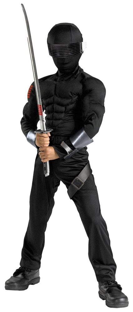 G.I. Joe Movie: The Rise of Cobra Snake Eyes Classic Muscle Child Costume 50372