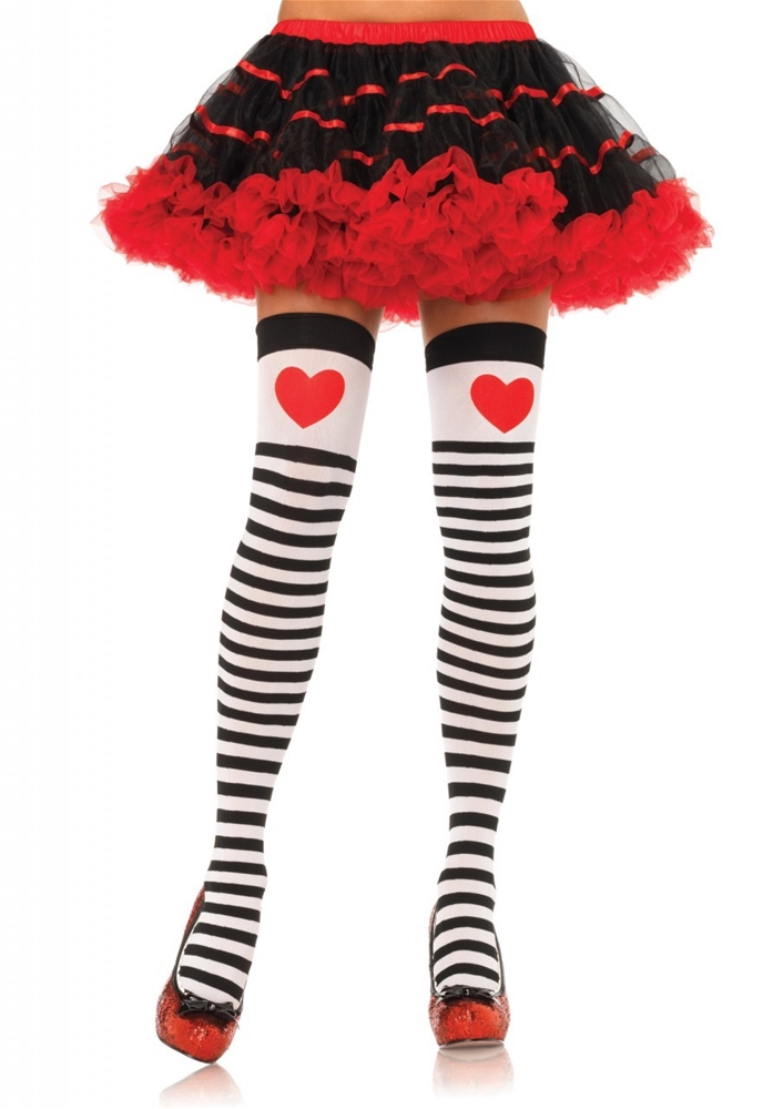 Striped Thigh High with Red Heart