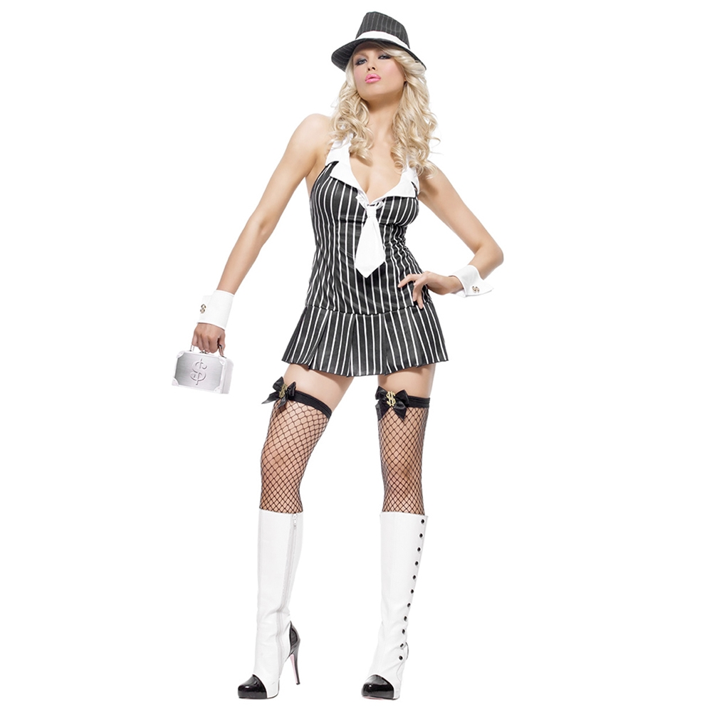 Miss Mafia Black & White Adult Womens Costume