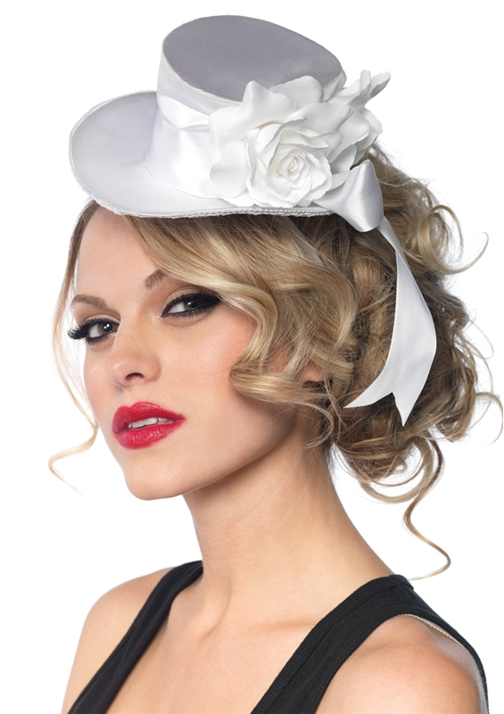 White Satin Top Hat with Flower And Bow