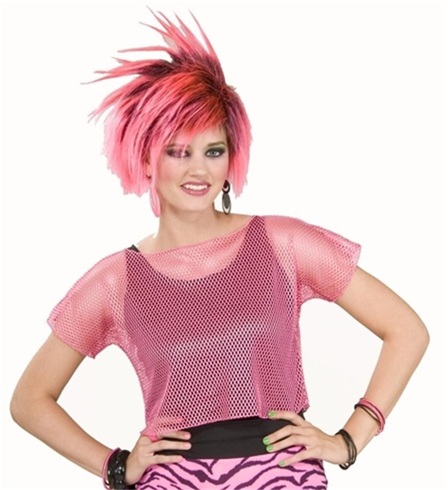 80s Neon Pink Mesh Adult Top