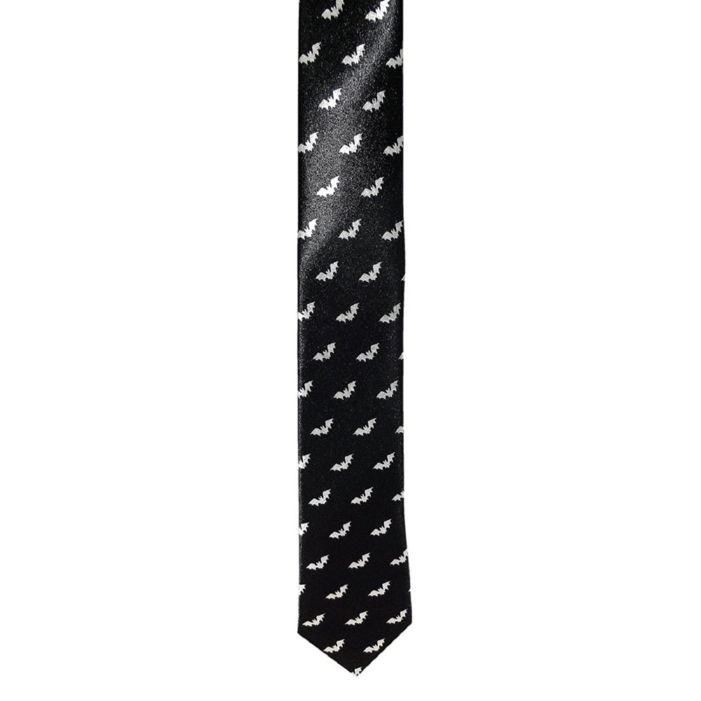 Slim Black Tie with Bats