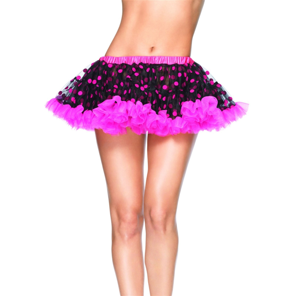 Pink and Black Polka Dot Petticoat by Leg Avenue