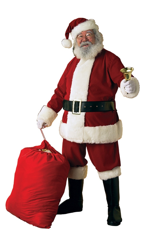 Velvet santa claus suit adult mens costume christmas