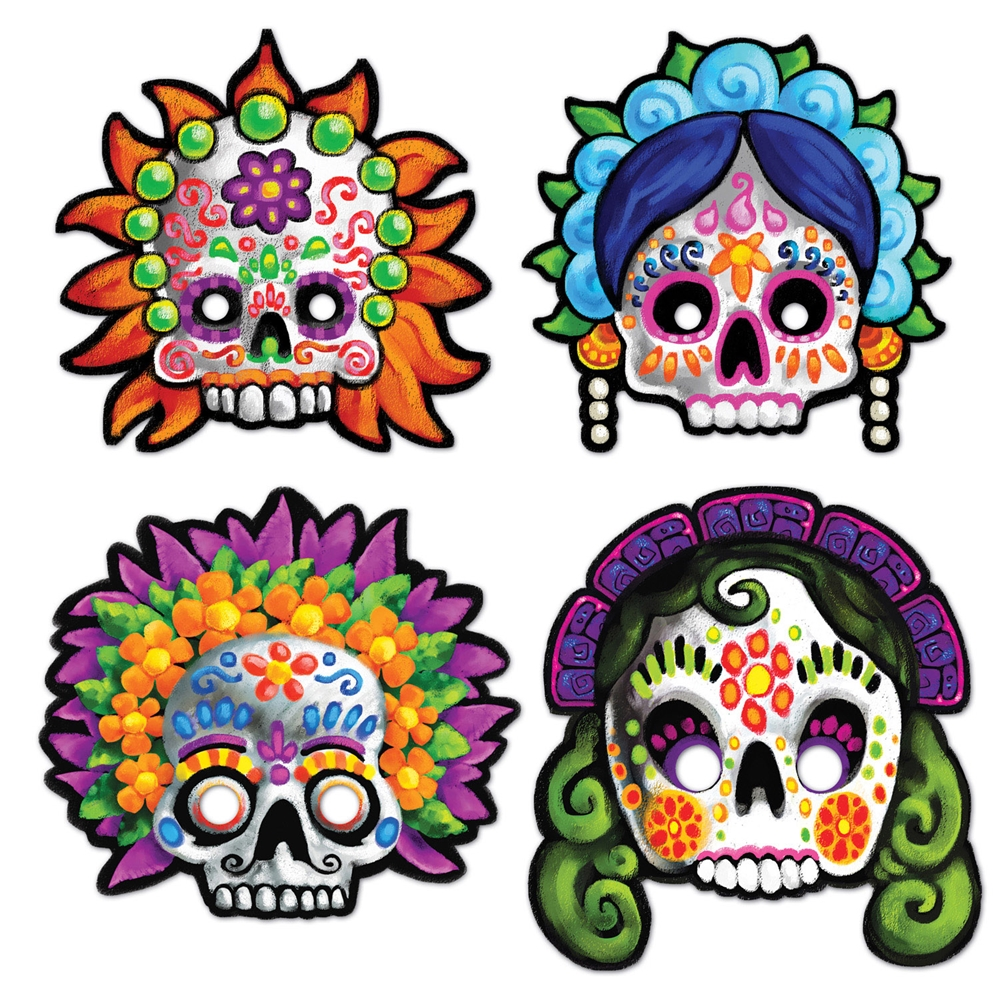 Day Of Dead Masks 4ct