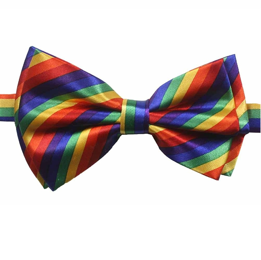 Striped Rainbow Bow Tie