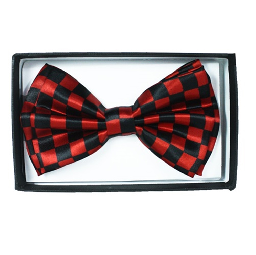 Black & Red Checkered Bow Tie (Red Bow Tie)