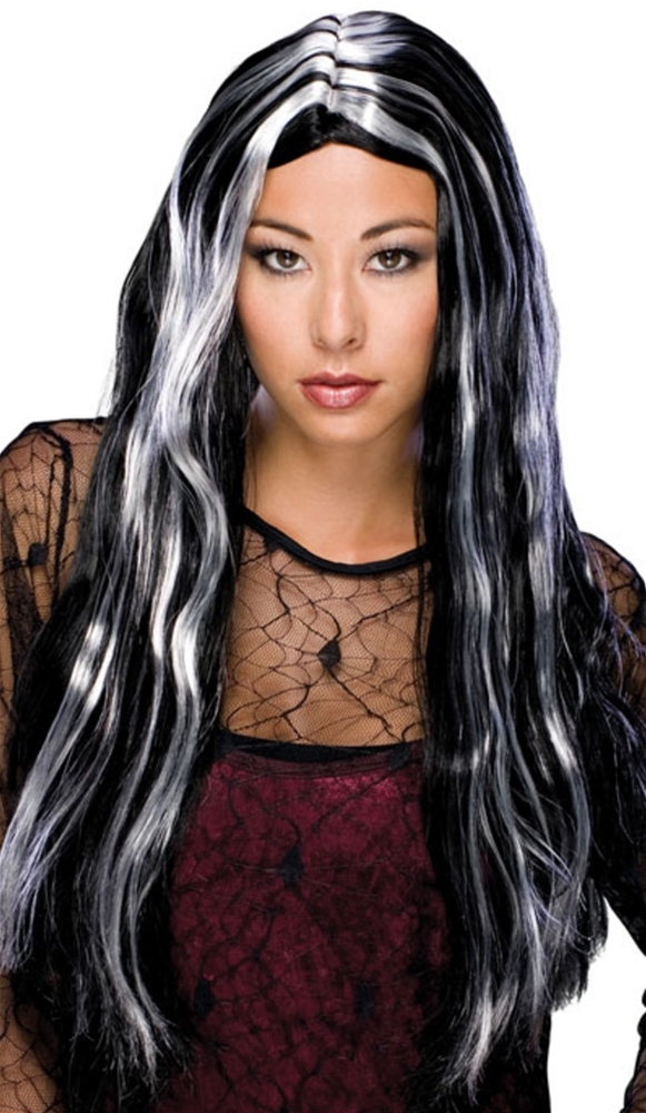 Black & Silver Long Witch Wig