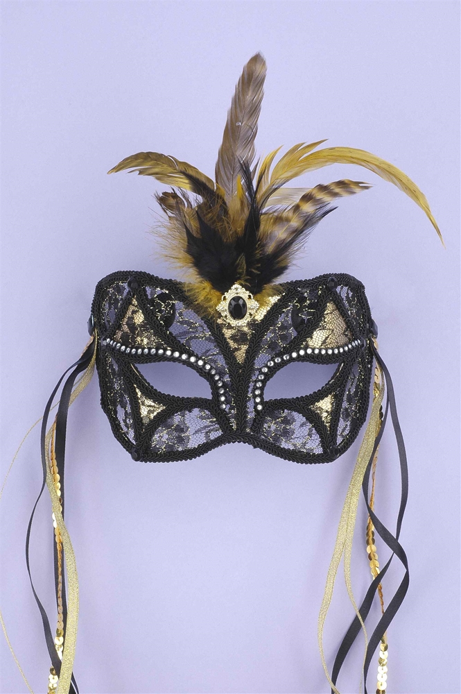 Black and Gold Lace Adult Mask
