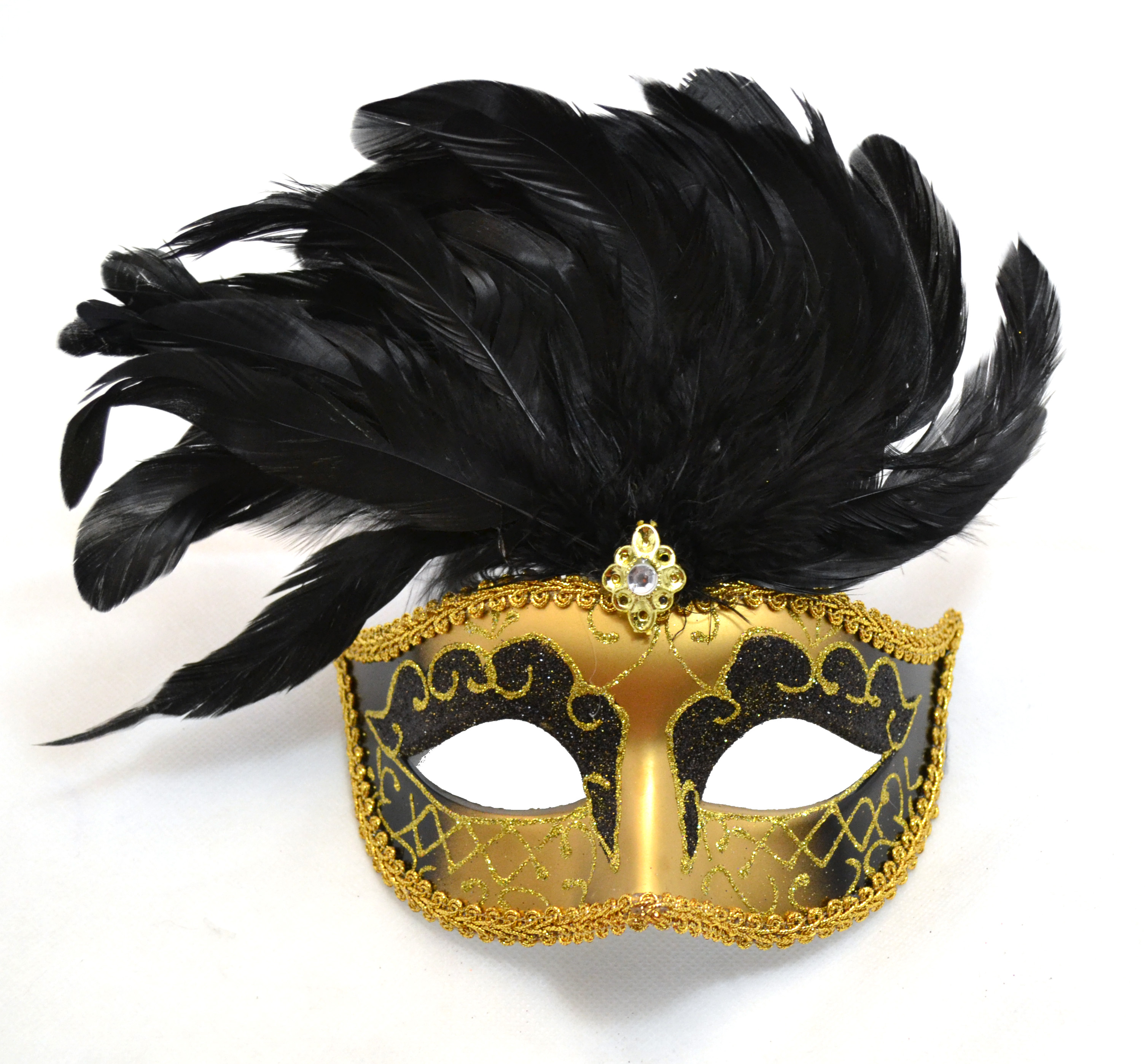 Venetian Black Mask with Short Feathers