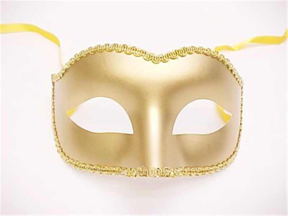 Plastic Gold Eye Mask with Trim by Bauer Pacific Imports