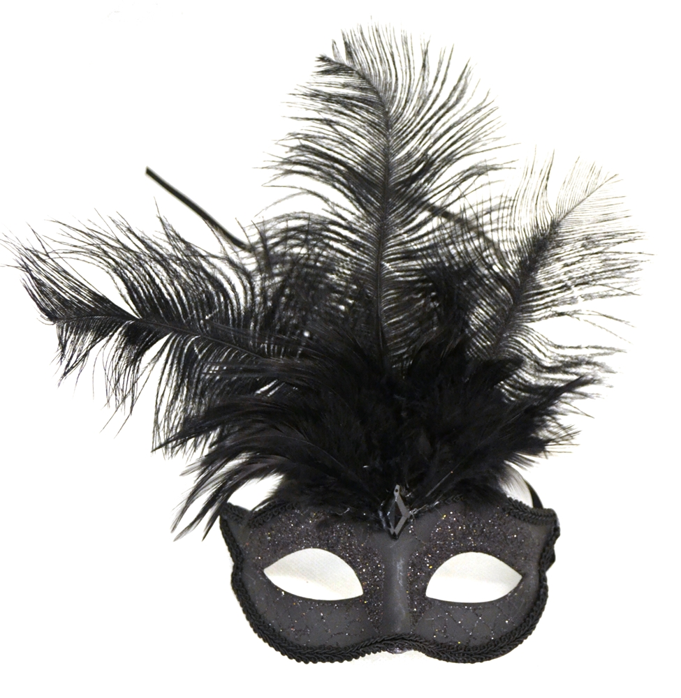 Venetian Feather Black Mask