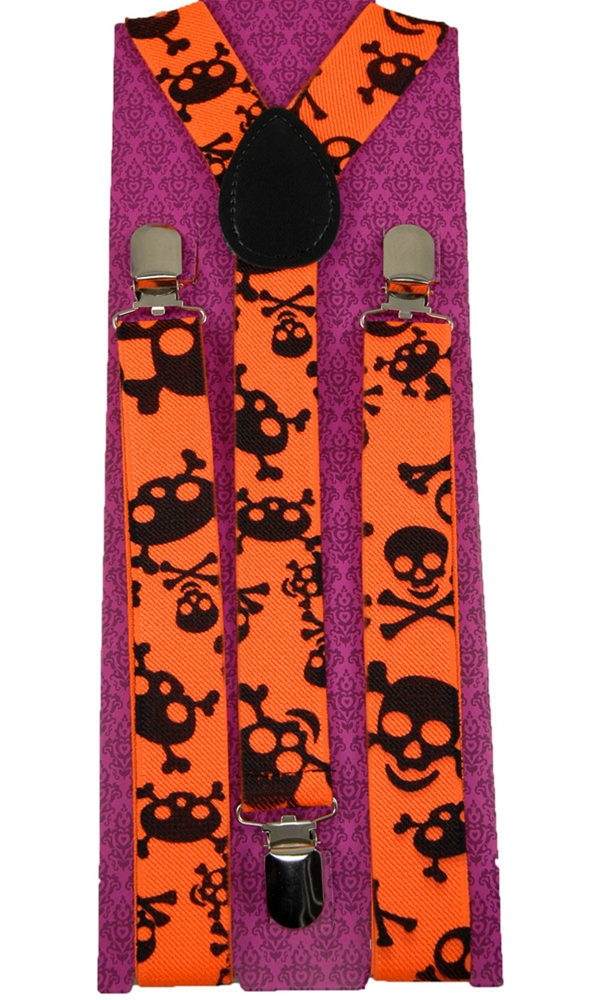 Neon Orange Skull Suspenders (Ships for $1.99)