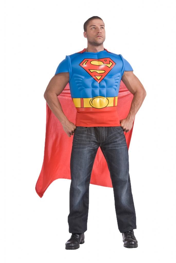 Superman Muscle Shirt Cape Adult Men Costume