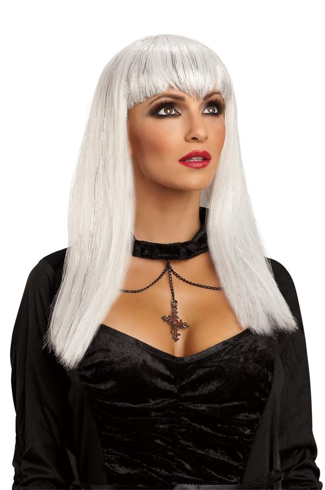 [White Glitter Vampiress Wig] (Glitter Wigs)