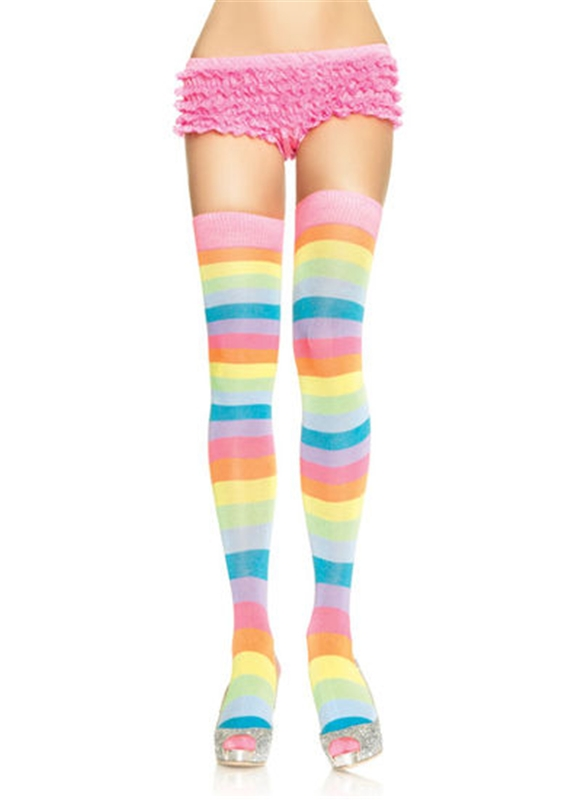 Acrylic Neon Rainbow Thigh Women Highs by Leg Avenue