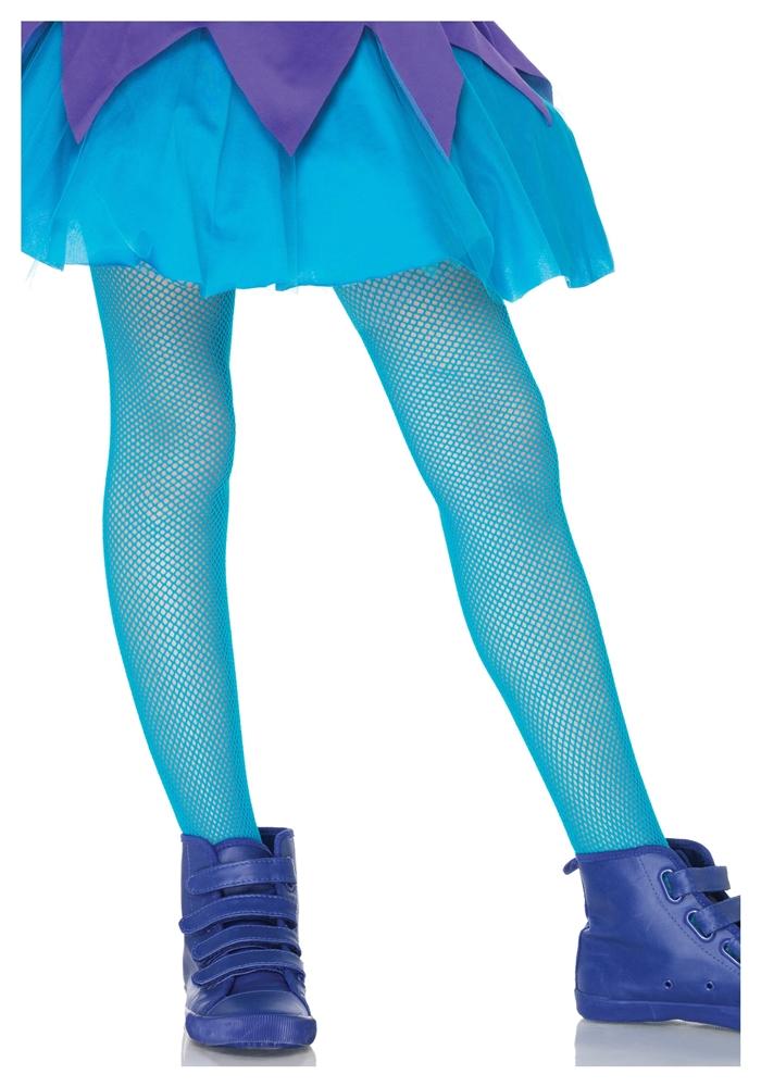Neon Blue Child Fishnet Tights