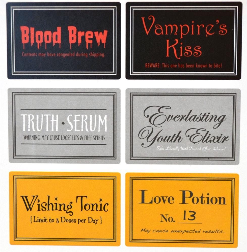 Halloween Wine Bottle Labels 6ct
