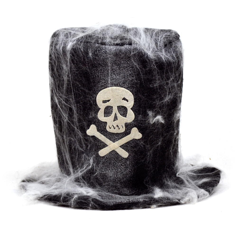 Tall Hat with Skull & Cobwebs
