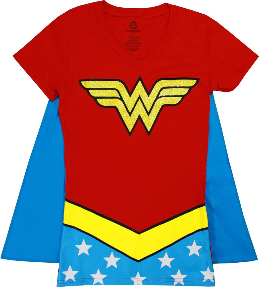Wonder Woman Glitter V-Neck Juniors T-Shirt