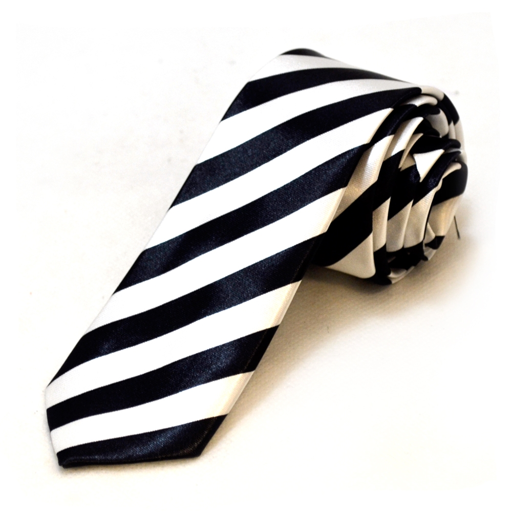 Image of Black and White Striped Tie