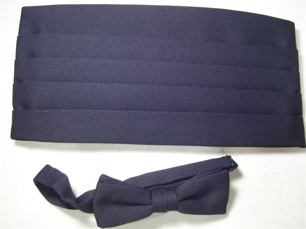 Image of Black Cummerbund and Bow Tie