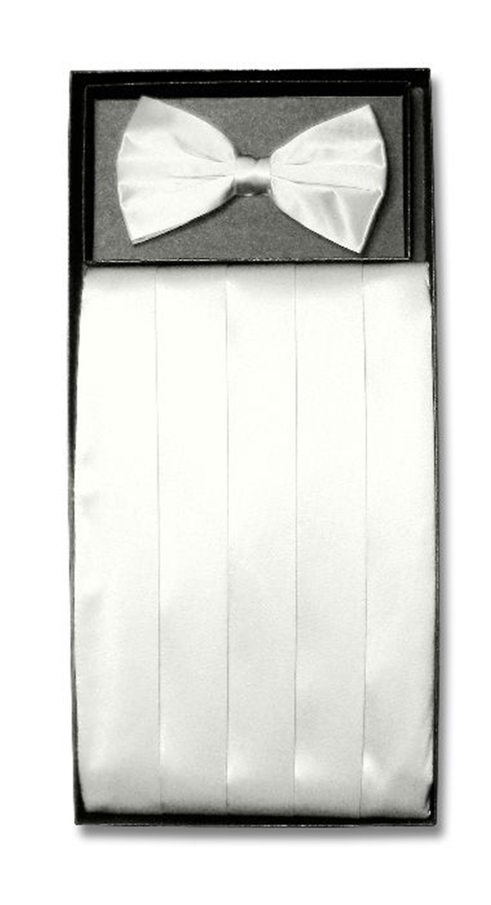 Image of White Cummerbund and Bow Tie