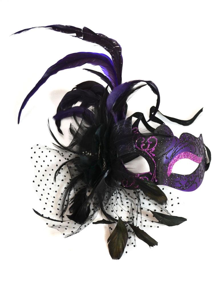 [Venetian Feathers & Flowers Purple Mask] (Purple Feather Mask)