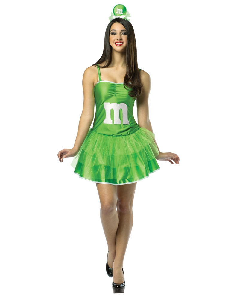 M&M Party Dress Green Adult Womens Costume (Adult M&m Costumes)