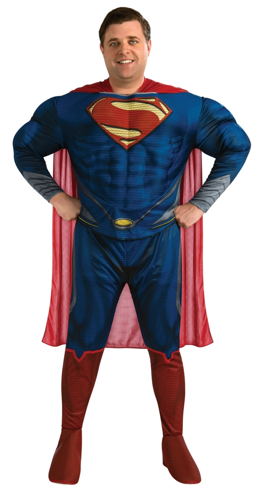 [Superman Man of Steel Deluxe Adult Mens Plus Size Costume] (Plus Size Deluxe Superman Costumes)