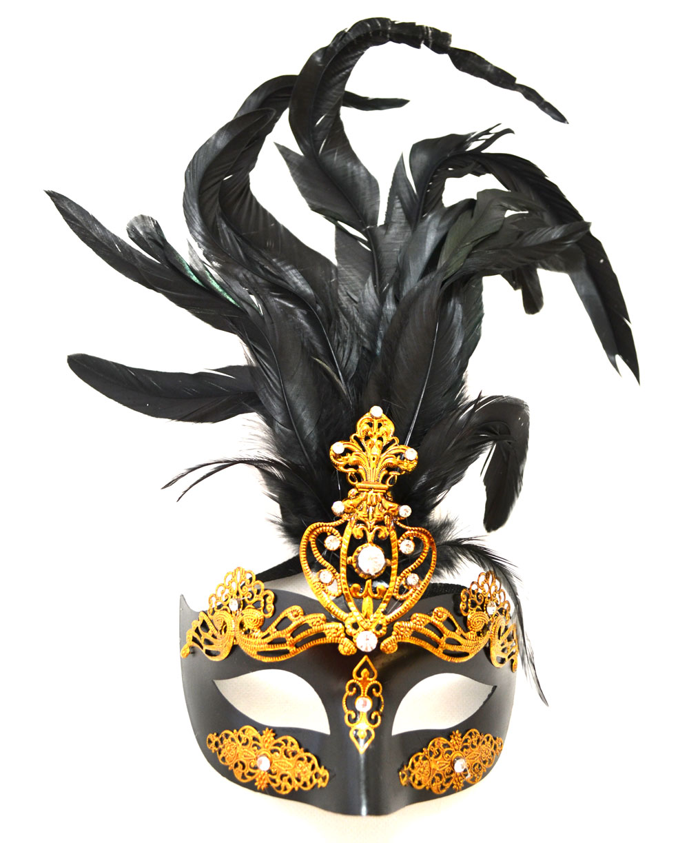 Showgirl Style Mask with Feathers