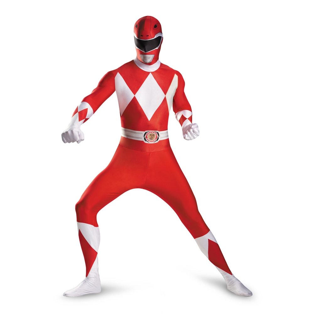 Red Power Ranger Deluxe Adult Mens Bodysuit by Disguise