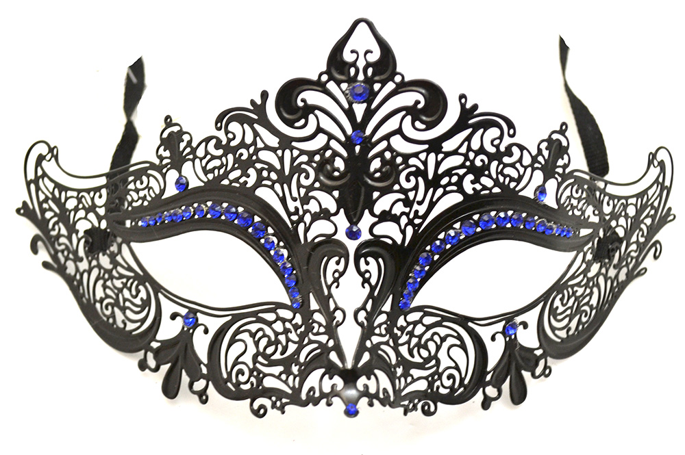 Black Metal Venetian Mask with Blue Crystals