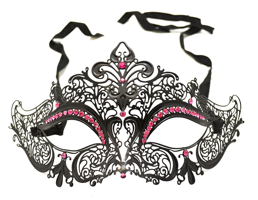 Black Metal Venetian With Hot Pink Crystals Mask