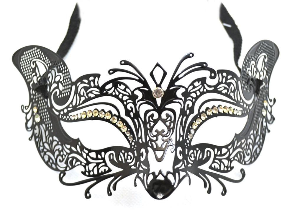 Metal Venetian Mask Black