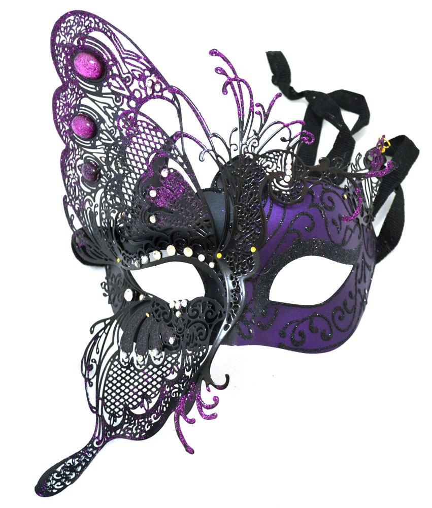Venetian Mask with Butterfly & Purple Crystals - Masquerade Mask ...