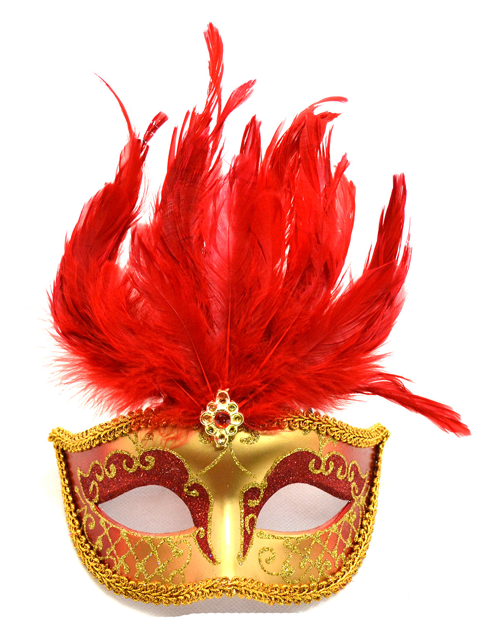Venetian Red Mask with Short Feathers by K.B.W. Global Corp
